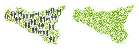 People population and ecology Sicilia map. Vector collage of Sicilia map composed of scattered lady and gentleman and grass elements in various sizes. Ilustração