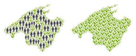 People population and green plants Spain Mallorca Island map. Vector pattern of Spain Mallorca Island map organized of scattered human and grass items in different sizes.
