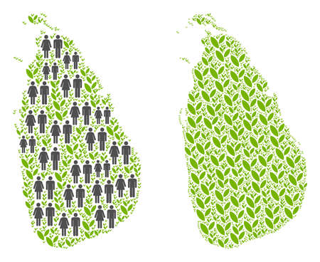 People population and green plants Sri Lanka Island map. Vector mosaic of Sri Lanka Island map organized of scattered crowd and flora elements in various sizes.