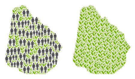 People population and eco Uruguay map. Vector pattern of Uruguay map formed of scattered male and female and plantation items in various sizes. Illustration