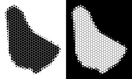 Dotted halftone Barbados map. Vector geographic map on white and black backgrounds. Abstract composition of Barbados map created with round dots.