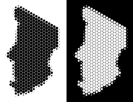 Dot halftone Chad map. Vector geographic plan on white and black backgrounds. Abstract mosaic of Chad map created of round pixels. Illustration