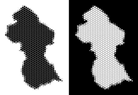 Dotted halftone Guyana map. Vector geographic plan on white and black backgrounds. Abstract collage of Guyana map composed of sphere points.
