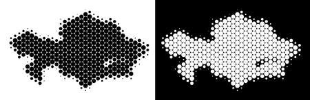 Dotted halftone Kazakhstan map. Vector geographic scheme on white and black backgrounds. Abstract composition of Kazakhstan map done from round dots.
