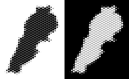 Dotted halftone Lebanon map. Vector geographic map on white and black backgrounds. Abstract mosaic of Lebanon map constructed of circle spots. Illustration