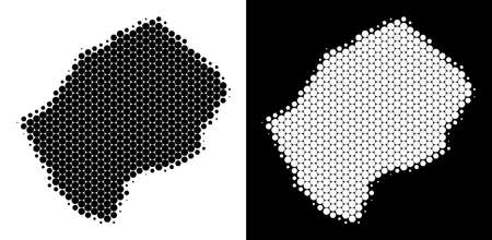 Pixel halftone Lesotho map. Vector geographic map on white and black backgrounds. Abstract mosaic of Lesotho map made with circle points.
