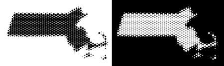 Pixel halftone Massachusetts State map. Vector geographic plan on white and black backgrounds. Abstract composition of Massachusetts State map composed from round dots. Çizim