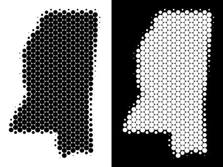 Dotted halftone Mississippi State map. Vector geographic map on white and black backgrounds. Abstract collage of Mississippi State map composed with spheric items.
