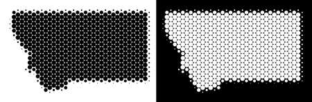 Pixel halftone Montana State map. Vector geographic scheme on white and black backgrounds. Abstract collage of Montana State map constructed from sphere items.