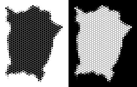 Dotted halftone Penang Island map. Vector geographic scheme on white and black backgrounds. Abstract mosaic of Penang Island map created from spheric pixels.