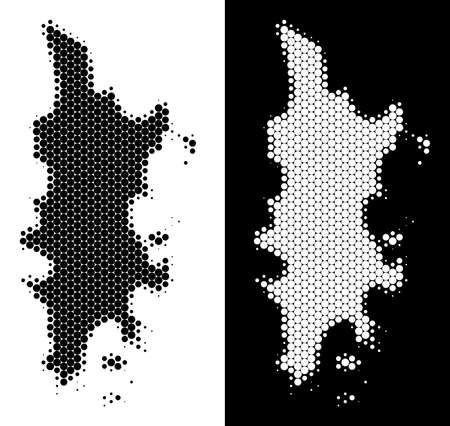 Dotted halftone Phuket map. Vector geographic scheme on white and black backgrounds. Abstract composition of Phuket map composed from round elements. Иллюстрация