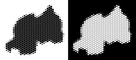 Dot halftone Rwanda map. Vector geographic scheme on white and black backgrounds. Abstract concept of Rwanda map done with circle points.