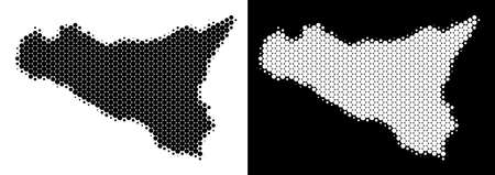 Pixel halftone Sicilia map. Vector geographic map on white and black backgrounds. Abstract collage of Sicilia map organized from sphere items. Illustration