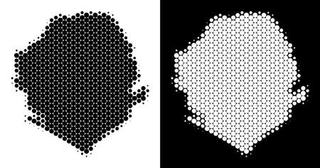 Pixel halftone Sierra Leone map. Vector geographic scheme on white and black backgrounds. Abstract collage of Sierra Leone map constructed with sphere elements.