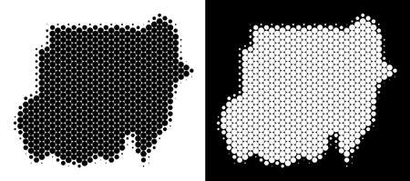 Dot halftone Sudan map. Vector geographic plan on white and black backgrounds. Abstract mosaic of Sudan map combined from spheric items.