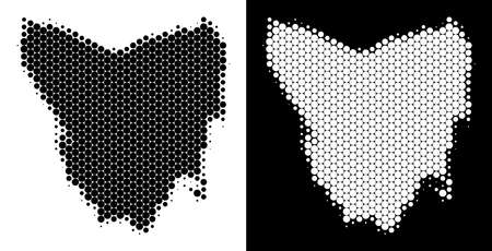 Dot halftone Tasmania Island map. Vector geographic plan on white and black backgrounds. Abstract collage of Tasmania Island map designed of sphere elements. Illustration