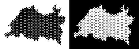 Dotted halftone Tatarstan map. Vector geographic scheme on white and black backgrounds. Abstract composition of Tatarstan map constructed of spheric points.