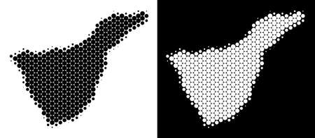 Dotted halftone Tenerife Spain Island map. Vector geographic map on white and black backgrounds. Abstract composition of Tenerife Spain Island map created of sphere points.