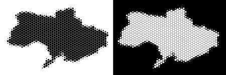 Dot halftone Ukraine map. Vector geographic scheme on white and black backgrounds. Abstract collage of Ukraine map made of spheric dots. Stock Illustratie