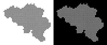 Vector rhombus pixel Belgium map. Abstract territory maps in black and white colors on white and black backgrounds. Belgium map designed of rhombic dot pattern. Çizim