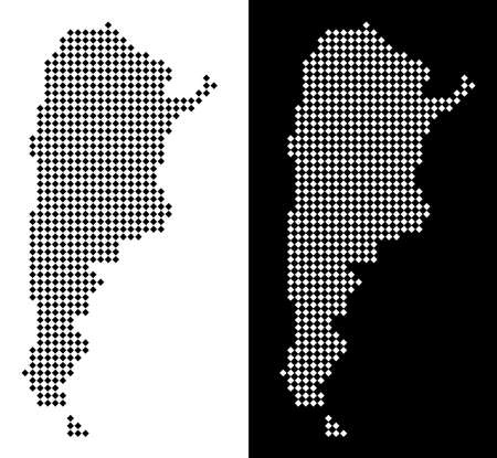 Vector rhombus dot Argentina map. Abstract territorial maps in black and white colors on white and black backgrounds. Argentina map composed of rhombic small item grid.