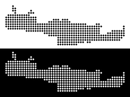 Vector rhombus dotted Crete Island map. Abstract territorial maps in black and white colors on white and black backgrounds. Crete Island map done of rhombus pixel grid.