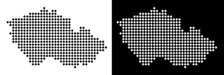 Vector rhombic pixel Czech map. Abstract territorial maps in black and white colors on white and black backgrounds. Czech map organized of rhombus pixel mosaic.