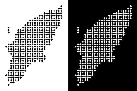 Vector rhombic pixel Greek Rhodes Island map. Abstract territory maps in black and white colors on white and black backgrounds. Greek Rhodes Island map constructed of rhombic dot pattern.