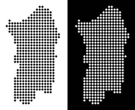 Vector rhombic pixel Italian Sardinia Island map. Abstract territorial maps in black and white colors on white and black backgrounds. Italian Sardinia Island map designed of rhombus point pattern.