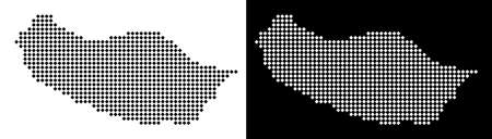 Vector rhombus pixel Portugal Madeira Island map. Abstract geographic maps in black and white colors on white and black backgrounds.