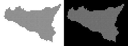 Vector rhombic pixel Sicilia map. Abstract geographic maps in black and white colors on white and black backgrounds. Sicilia map organized of rhombic pixel mosaic.