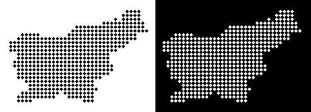 Vector rhombic pixel Slovenia map. Abstract geographical maps in black and white colors on white and black backgrounds. Slovenia map organized of rhombic point array.