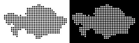 Vector rhombus pixel Kazakhstan map. Abstract geographical maps in black and white colors on white and black backgrounds. Kazakhstan map created of rhombus point pattern.
