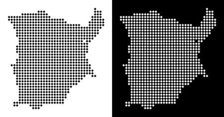 Vector rhombic pixel Koh Samui map. Abstract geographic maps in black and white colors on white and black backgrounds. Koh Samui map combined of rhombic element grid.