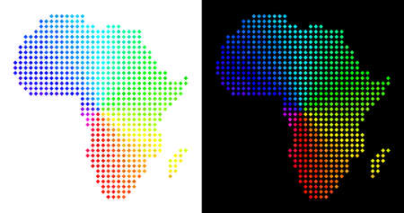 Spectral dotted Africa map. Vector geographical scheme in bright spectral colors with circular gradient on white and black backgrounds. Dots have rhombus shape.