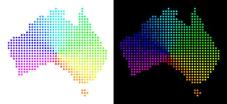 Spectral dot Australia map. Vector territorial plan in bright spectrum colors with circular gradient on white and black backgrounds. Points have rhombus shape.
