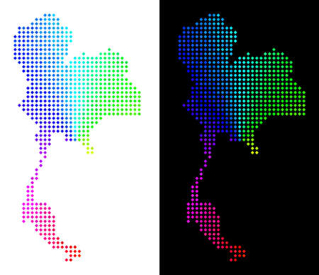 Spectral dot Thailand map. Vector territorial plan in bright spectrum colors with circular gradient on white and black backgrounds. Points have rhombus form.