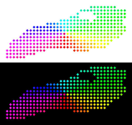 Spectrum dot Ontario Lake map. Vector territorial scheme in bright rainbow colors with circular gradient on white and black backgrounds. Pixels have rhombus shape.