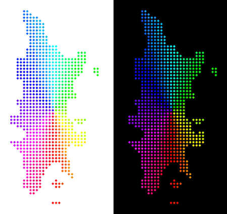 Spectrum dot Phuket map. Vector territory map in bright rainbow colors with circular gradient on white and black backgrounds. Pixels have rhombic form. Иллюстрация