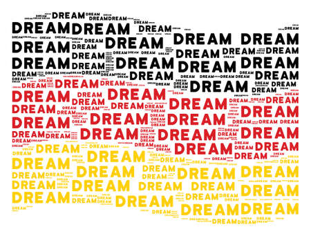 Waving German state flag. Vector dream words are placed into geometric Germany flag illustration. Patriotic illustration created of flat dream word design elements.