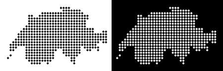 Vector rhombic pixel Swissland map. Abstract territorial maps in black and white colors on white and black backgrounds. Swissland map organized of rhombic dot pattern.
