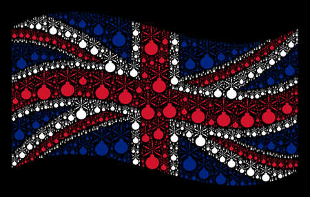 Waving UK state flag on a black background. Raster fireworks detonator elements are arranged into mosaic Great Britain flag abstraction. Stock Photo