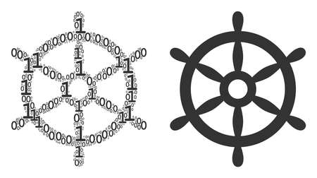 Boat steering wheel collage icon of binary digits in variable sizes. Vector digital symbols are organized into boat steering wheel composition design concept.