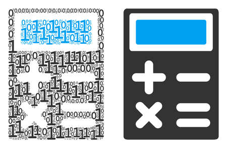 Calculator composition icon of one and zero digits in different sizes. Vector digit symbols are combined into calculator mosaic design concept.