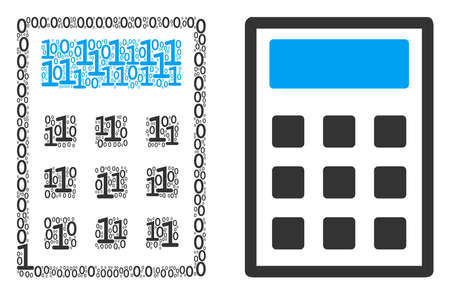 Calculator collage icon of zero and null digits in randomized sizes. Vector digital symbols are grouped into calculator composition design concept.