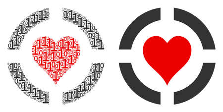 Casino hearts collage icon of binary digits in variable sizes. Vector digital symbols are grouped into casino hearts composition design concept.
