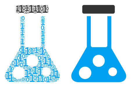 Chemistry collage icon of zero and null digits in randomized sizes. Vector digit symbols are combined into chemistry illustration design concept. Çizim