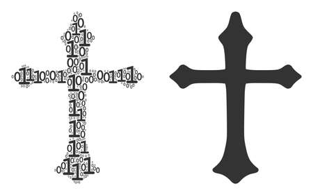Christian cross composition icon of zero and one symbols in various sizes. Vector digit symbols are grouped into Christian cross mosaic design concept.