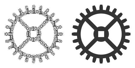 Clock gear mosaic icon of zero and null digits in various sizes. Vector digital symbols are grouped into clock gear mosaic design concept.