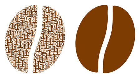 Coffee bean mosaic icon of binary digits in variable sizes. Vector digit symbols are grouped into coffee bean mosaic design concept.  イラスト・ベクター素材